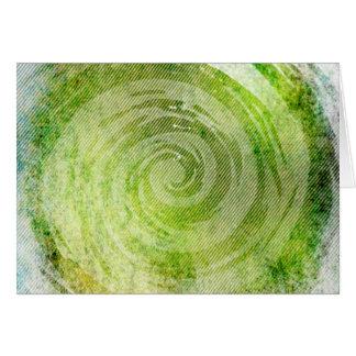 Urblektt grönt hypnotiskt virvlar runt konst hälsningskort
