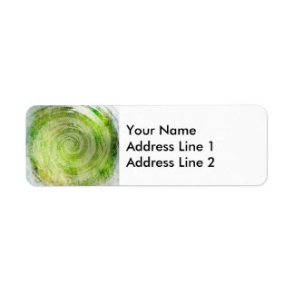 Urblektt grönt hypnotiskt virvlar runt konst returadress etikett