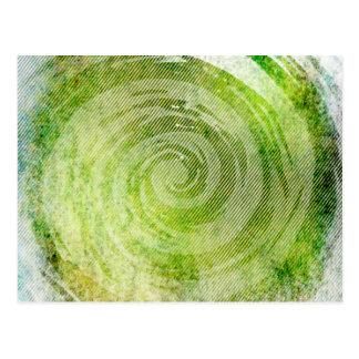 Urblektt grönt hypnotiskt virvlar runt konst vykort