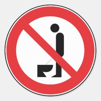 Urinera stundanseende förbjudas klistermärken