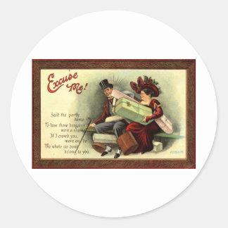 Ursäkta mig! Repro vintage 1911 Runt Klistermärke