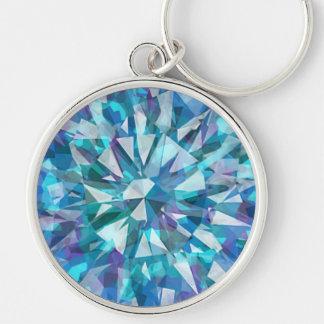 Ursnygg Gem med deppighet och lila Rund Silverfärgad Nyckelring