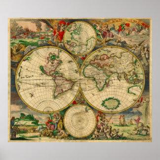 Ursnygg karta för gammal värld poster