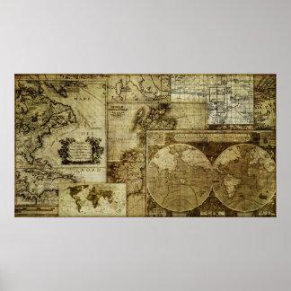 Ursnygg och unik kartor för gammal värld för poster