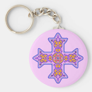 Ursnygg pastellfärgad Coptic kor Rund Nyckelring