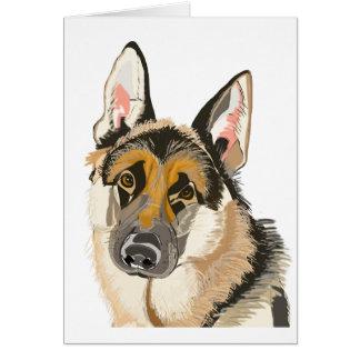 Ursnygg tysk herde, Alsation hundteckning Hälsningskort
