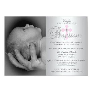Ursnyggt dop för FOTO för flicka för silverrosakor 12,7 X 17,8 Cm Inbjudningskort
