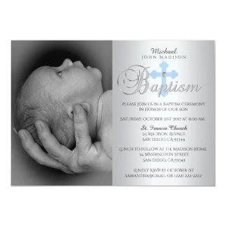 Ursnyggt dop för FOTO för pojke för silverblåttkor 12,7 X 17,8 Cm Inbjudningskort