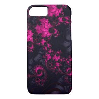 Ursnyggt fodral för iPhone 7 för rosasvartFractal