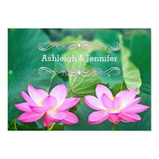 Ursnyggt para rosa lotusblomma kopplar ihop 12,7 x 17,8 cm inbjudningskort