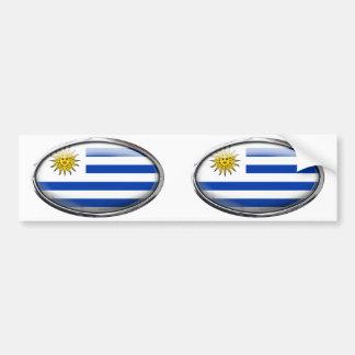 Uruguay flagga i den Glass ovalen Bildekal