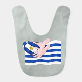 Uruguay flagga med tecknadRugbyboll Hakklapp