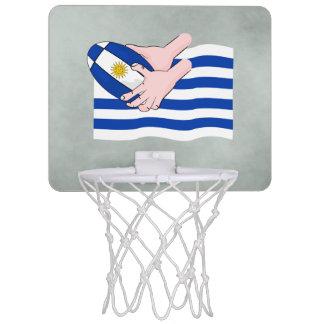Uruguay flagga med tecknadRugbyboll Mini-Basketkorg
