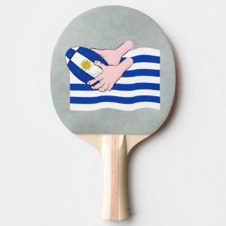 Uruguay flagga med tecknadRugbyboll Pingisracket