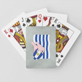 Uruguay flagga med tecknadRugbyboll Spel Kort