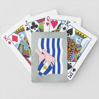 Uruguay flagga med tecknadRugbyboll Spelkort