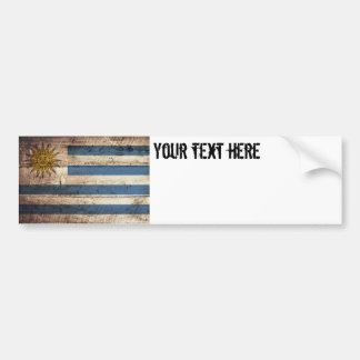 Uruguay flagga på gammalt Wood korn Bildekal