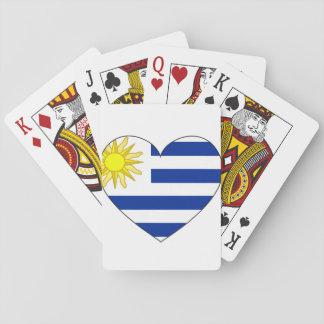 Uruguay flaggahjärta spelkort