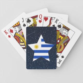 Uruguay flaggastjärna i utrymme spel kort