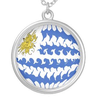 Uruguay Gnarly flagga Halsband Med Rund Hängsmycke
