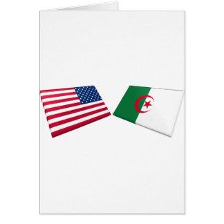 Us- & Algeriet flaggor Hälsningskort