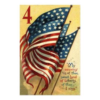 Us-flagga 4th Juli Fototryck