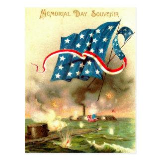 Us-flagga Merrimack övervakar den Ironclad frakten Vykort