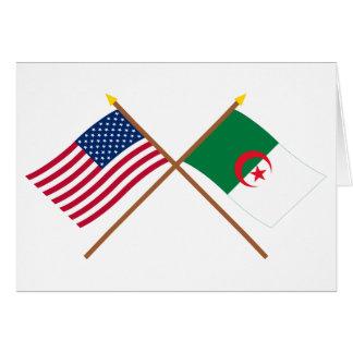 US och Algeriet korsad flaggor Hälsningskort