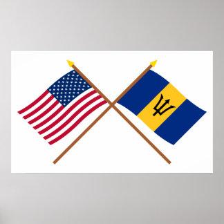US och Barbados korsad flaggor Poster