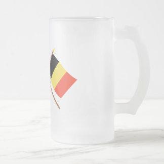 US och Belgien korsad flaggor Frostat Ölglas