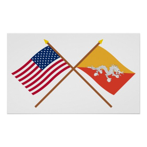 228134916964404777. us och bhutan korsad flaggor poster. ZAZZLE d6d9b52833216