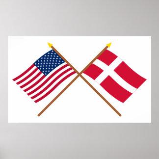 US och Danmark korsad flaggor Poster