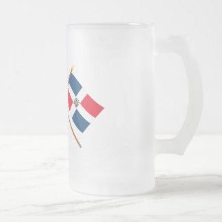 US och Dominikanska republiken korsad flaggor Frostat Ölglas