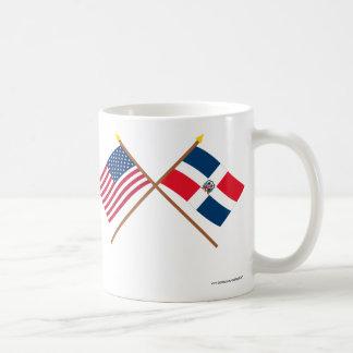 US och Dominikanska republiken korsad flaggor Kaffemugg