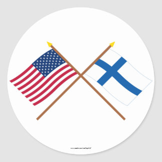 US och Finland korsad flaggor Runt Klistermärke