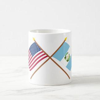 US och Guatemala korsad flaggor Kaffemugg