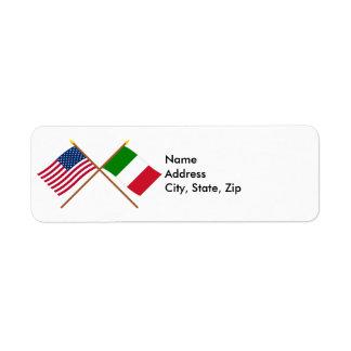 US och italien korsad flaggor Returadress Etikett