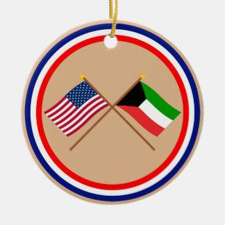 US och Kuwait korsad flaggor Julgransprydnad Keramik