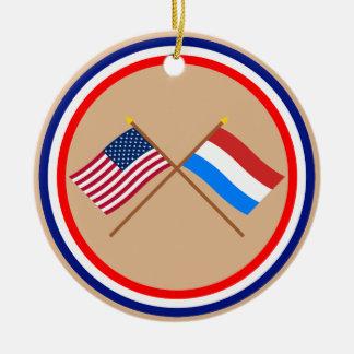 US och Luxembourg korsad flaggor Rund Julgransprydnad I Keramik