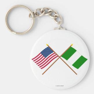 US och Nigeria korsad flaggor Rund Nyckelring