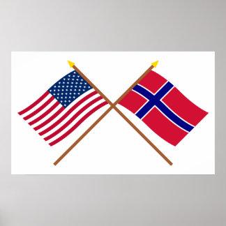 US och norge korsad flaggor Posters