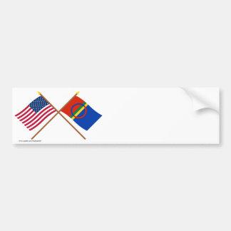 US och Sapmi korsad flaggor Bildekal