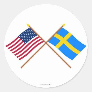US och sverige korsad flaggor Runt Klistermärke