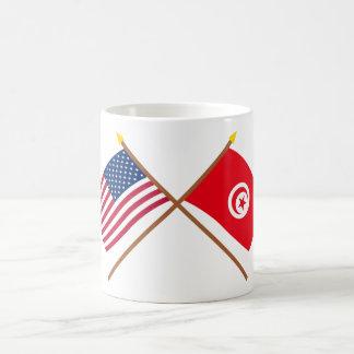 US och Tunisien korsad flaggor Kaffemugg