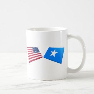 Us- & Somalia flaggor Vit Mugg