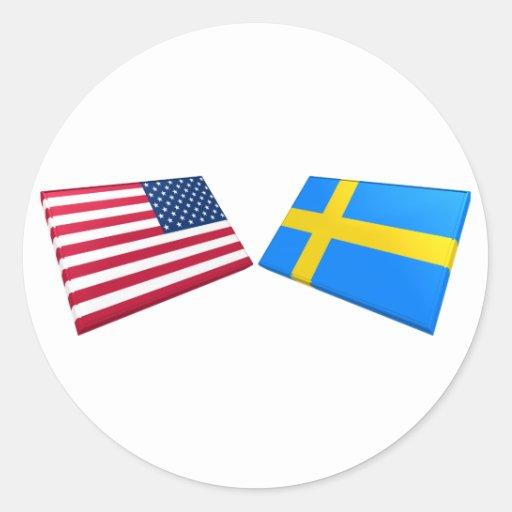 Us- & sverigeflaggor rund klistermärke