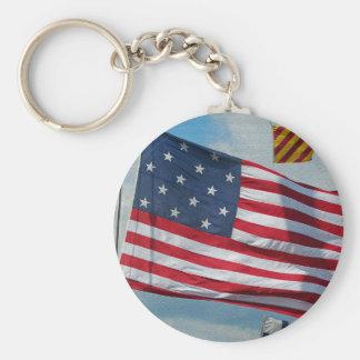 USA 15 stjärnaflagga Keychain Rund Nyckelring