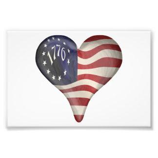 USA 1776 flagga i en hjärta Fotontryck