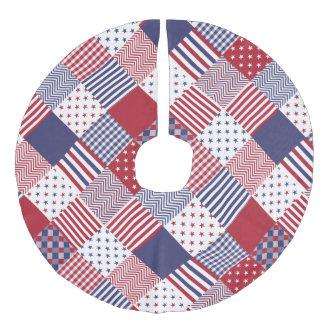 USA Americana diagonalt rött vit- & blåtttäcke Julgransmatta Fusklinne