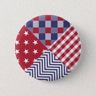 USA Americana diagonalt rött vit- & blåtttäcke Standard Knapp Rund 5.7 Cm